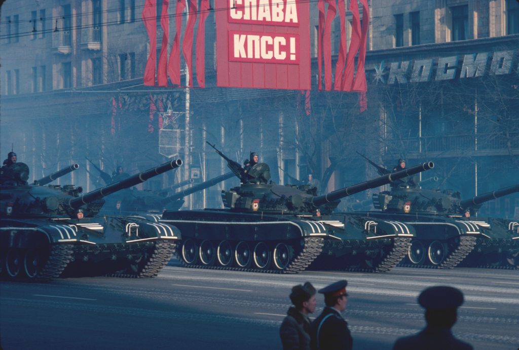 A military parade during celebrations in the Soviet Union in 1983 of the anniversary of the October Revolution.